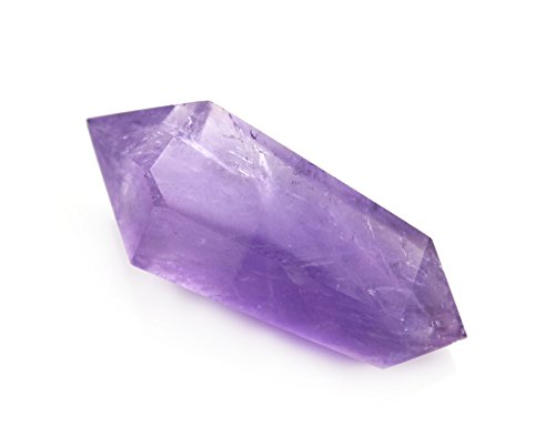 DeYue Natural Amethyst Double Terminated Healing Crystal Point Vogel 6 Facet Wand Carved Reiki Stone for Wire Wrapping, Grids, Crafts, Reiki, Wicca and Energy-Approx 2.4-2.8