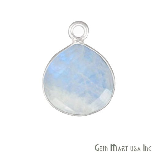 Silver 14 Mm Heart - Rainbow Moonstone, Bezel Heart Shape Connector, 14mm Heart Silver Plated, Single Bail (RM-10284) ...