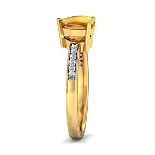 Or jaune 18K, 0.09carat Diamant Blanc (IJ | SI) Citrine Buff Top Cœur et diamant Bague