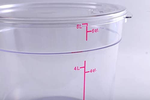 Hakka 6 Qt Commercial Grade Round Food Storage Containers with Lids,Polycarbonate,Clear - Case of 5 by HAKKA FOOD PROCESSING (Image #3)