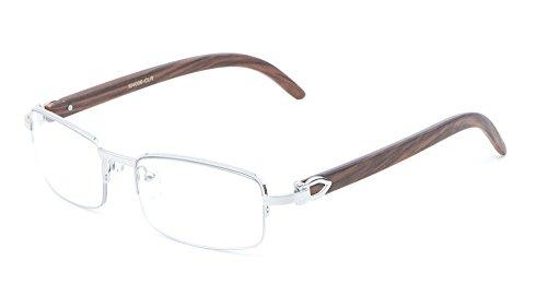 Debonair Slim Half Rim Rectangular Metal & Wood Eyeglasses / Clear Lens Sunglasses - Frames (Silver & Cherry Wood, - Wood Eyeglass Frames