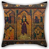 Oil Painting Master Of Soriguerola – Altar Frontal Of Saint Christopher Pillow Shams ,best For Kids Boys,car Seat,study Room,saloon,car,boys 16 X 16 Inches / 40 By 40 Cm(2 Sides)