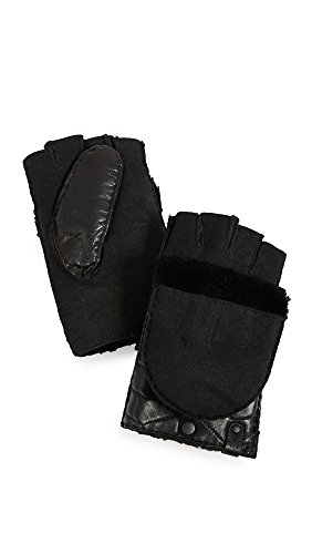 Mackage Women's Chukka Leather Pop-Top Mittens, Black, Medium by Mackage
