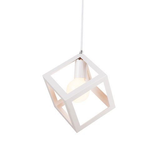 CGJDZMD Modern Simple Iron Metal Single Head Pendant Light Chandelier Creative Personality Cube Edison E27 Ceiling Lights Bedroom Kitchen Living Dining Room Restaurant Pendant Lamp (Color : White)