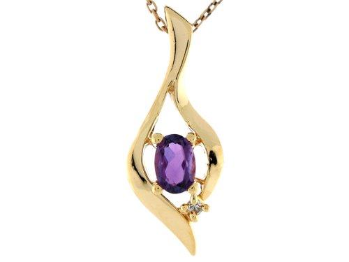 14ct Or Jaune Pendentif Femme Moderne 2.6cm Améthyste Et Diamant