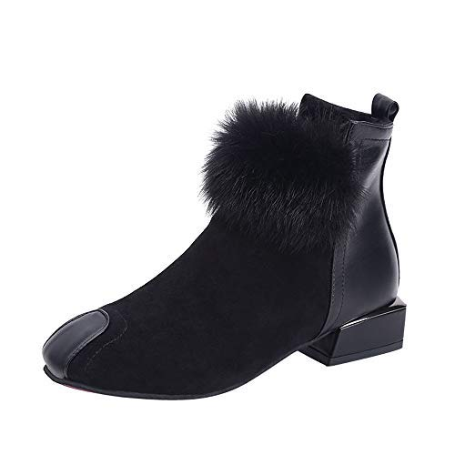 - Sunmoot Suede Ankle Boots Women Fluffy Feather Faux Leather Square Toe Zip Shoes Black