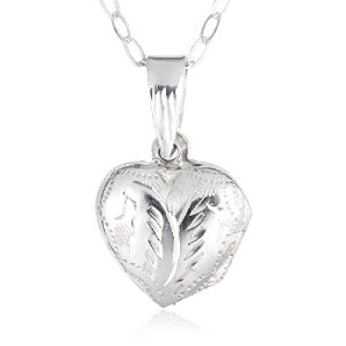 (Jo For Girls Sterling Silver Engraved Puffed Heart Locket Necklace 14