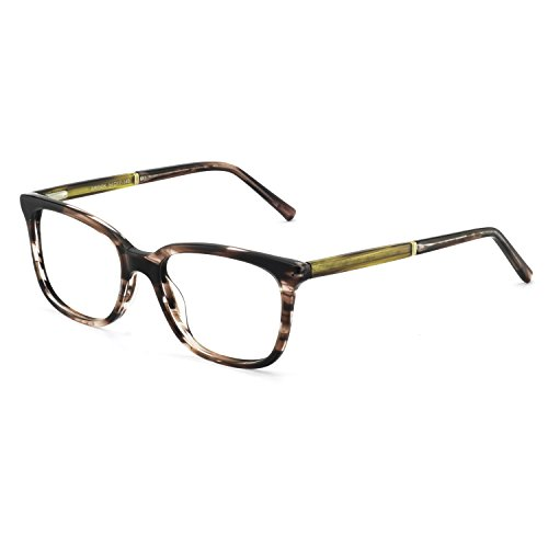 OCCI CHIARI Rectangular Stylish Acetate Frame Non-Prescription Fashion Clear Lens Eyeglasses for Women (Black Brown Tortoise)