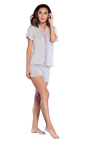 877834483d Women s Sleepwear Lightweight Super Soft Bamboo Short Lace Trim Pajama Set  - Made in Turkey
