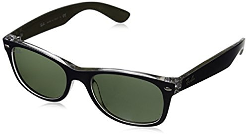 Ray-Ban New Wayfarer RB2132 Sunglasses Matte Blue / Military Green / Green 52mm & Cleaning Kit - Sunglasses Military Ban Ray