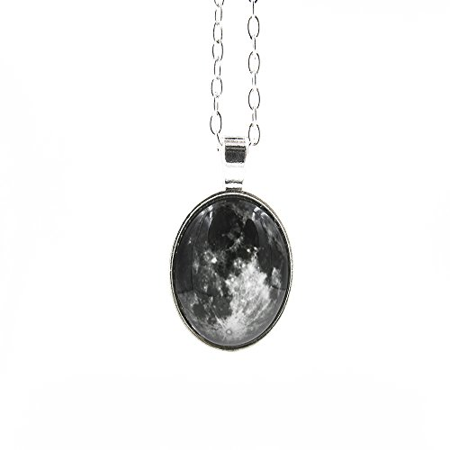ZXUY Full Moon Necklace, Space Picture Pendant, Galaxy