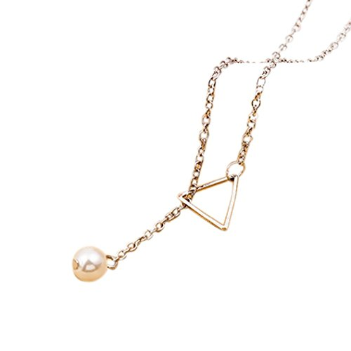 DondPO Gold Silver Chain Necklace for Women, Fashion Chic Y Shaped Circle Lariat Style Popular Hollow Triangle Pearl Pendant Necklace (Silver)