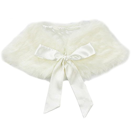 Chihom kids Girls Princess Shrug Faux Fur Ribbon Ties Flower Dress Bolero Shoulder Cape Bridesmaid Shawl Scarf White by Chihom
