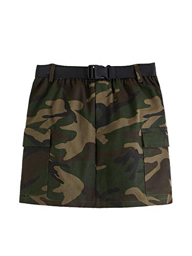 WDIRARA Women's Summer Camo Print Belted Front Mini Denim Skirt with Pockets Multicolor S