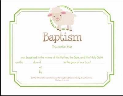 Certificate - Baptism - Cartoon Lamb Premium Stock (Pack Of 6)