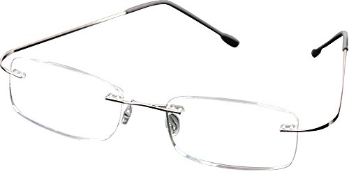 - SOOLALA High End Lightweight Titanium Stainless Steel Rimless Reading Glasses, Silver, 1.75x