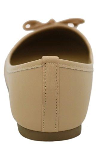 AllhqFashion Damen PU Rein Ohne Absatz Ziehen auf Pumps Schuhe Aprikosen Farbe