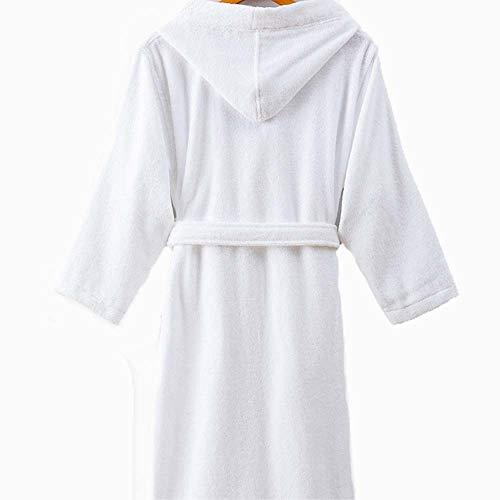 - HONGNA Hotel Bathrobe Men and Women Autumn and Winter Cotton Material Hooded Thick Absorbent Robe Five-Star Bathrobe (Color : White M)
