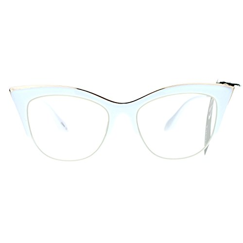 SA106 Womens High Point Squared Half Rim Look Cat Eye Glasses White