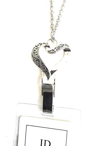 - Itsalotalike Heart Lanyard Silver Tone Antique Design Badge Id Holder