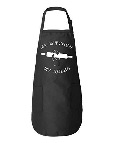 Shop4Ever My Kitchen My Rules Adjustable Strap Cooking Kitchen Apron with Pockets (Black)