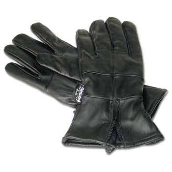 Diamond Plate Gauntlet Cuffed Solid Leather Gloves with Zipper XLarge -