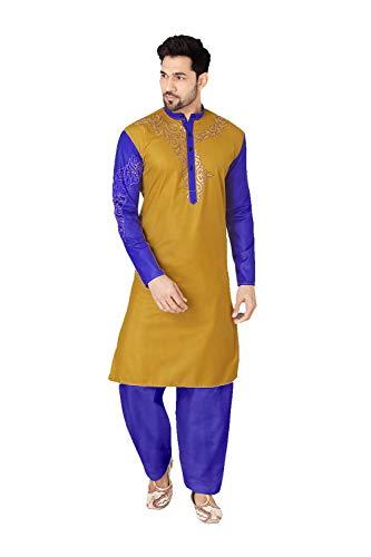 daindiashop-USA Indian Pakistani Kurta Pajama Partywear Wedding Dress Kurta in Light Brown Cotton Polyster Fancy Fabric by daindiashop-USA