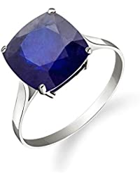 14K Solid White Gold Ring Natural Cushion 4.83 Carat Sapphire