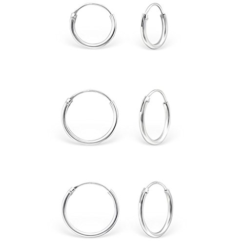 DTPSilver - 925 Sterling Silver Small Hoops Earrings - Thickness 1.2 mm - Diameter 12 mm dpxKiAViNz
