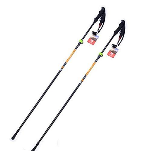 Twins LLC - 2Pcs/lot Anti Shock Nordic Walking Sticks Telescopic Trekking Hiking Poles Ultralight Walking Canes with Rubber Tips Protectors (Skis Twin Steel Tip)