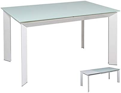 Mesa de Comedor Extensible Blanca: Amazon.es: Hogar