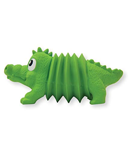 Outward Hound Accordionz Latex Squeaking Toy - Tough Interactive Squeaky Dog Toy, Alligator