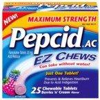 UPC 716837854258, Pepcid AC Maximum Strength Acid Reducer EZ Chews Tablets, Berry n Cream Flavor - 25 Tablets