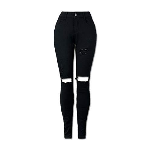 DAMENGXIANG La Mode Femme Jeans Stretch Taille Haute Shampoing Laver Black