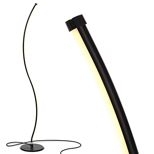 (Brightech Wave LED Floor Lamp - Dimmable Urban Contemporary Modern Light Fixture- Tall Standing Floor Lamp with Decorative Design- for Living Room, Den, Family Room, Office, Bedroom, Dorm - Jet Black)