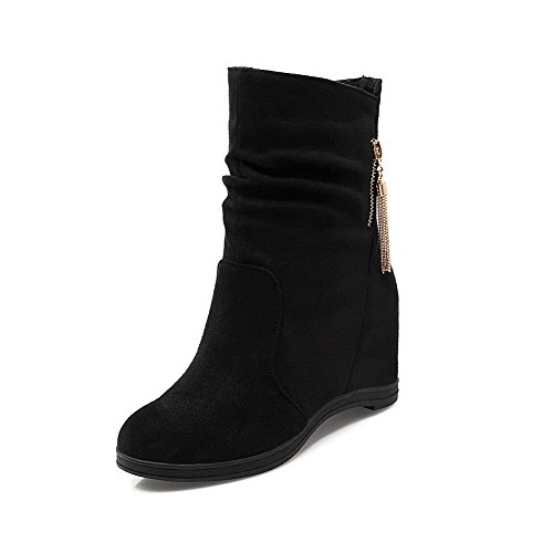 Round Boots Closed Pull Solid Allhqfashion Black High Frosted Heels Women's Toe On Owv0SqRa