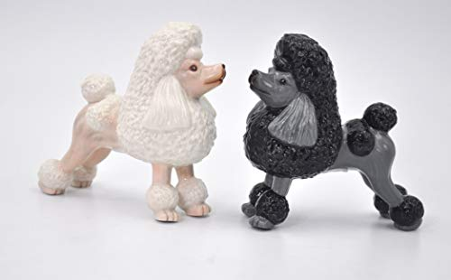 Fine Porcelain Black and White Poodle Dogs Salt & Pepper Shakers Set, 3-7/8