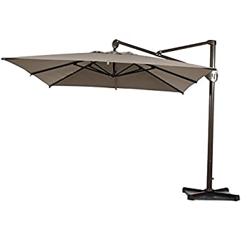offset patio umbrellas costco bed bath and beyond umbrella with stand feet hanging rectangular cantilever cross base cover tan