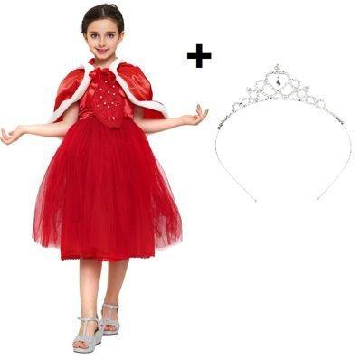 new concept 64a84 fe04c Katara 1842 Vestito Festivo Invernale con Corona Costume Principessa Regina  delle nevi, Rosso, Bambina 6-7 anni