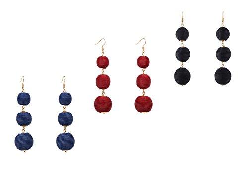 Earrings Bohemian Tiered Thread Tassel Drop Dangle Ball Earring With Ainiya Stud Ear Earrings Set Black Red Navy Blue Color ()