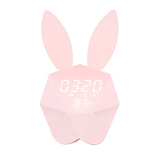 HandAcc Digital Alarm Clock, Bunny Rabbit Voice-Activated LED Night Light Nursery Lamp with Temperature for Kids Room (Pink, Upgraded Version)