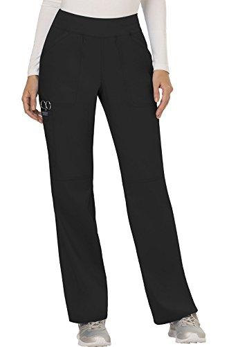 WW Revolution by Cherokee Women's Mid Rise Straight Leg Pull-on Pant, Black, L