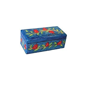 Hand Painted Wooden Box - Shabbat Travel Candlesticks by Yair Emanuel - Pomegranate Design (TL-4)
