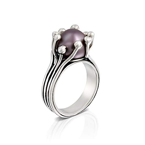 Paz Creations 925 Sterling Silver Cultured Grey Pearl Ring (10)