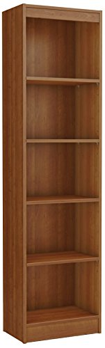 South Shore Narrow 5-Shelf Storage Bookcase, Morgan Cherry