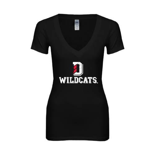 Davidson Next Level Ladies Junior Fit Deep V Black Tee 'Wildcats w/D on Top'