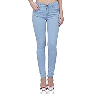 Luxsis Women's/Ladies/Girls Skinny Fit Denim Mid Waist Rough Jeans – Light Blue