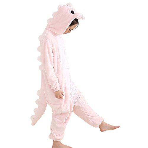Afoxsos Women's Pink Dinosaur Onesie Adult Pajamas Cosplay Costume Unicorn