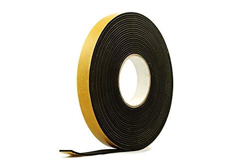 "Neoprene Rubber Black Self-Adhesive Sponge Strip 1"" Wide x 1/8"" Thick x 33 feet Long"