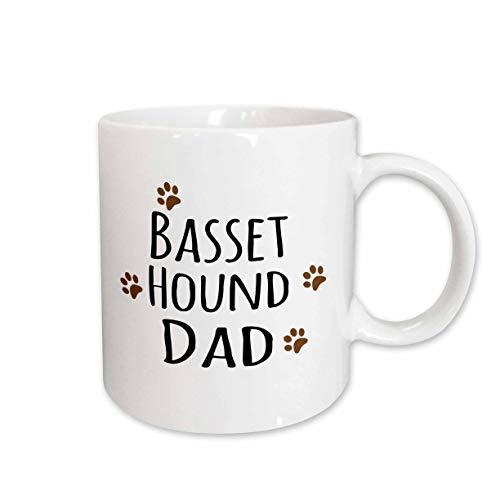 3dRose mug_153855_1 Basset Hound Dog Dad Doggie By Breed Brown Muddy Paw Prints Doggy Lover Pet Owner Love Ceramic Mug, 11-Ounce